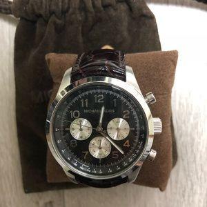 Michael Kors oxblood croc embossed leather watch